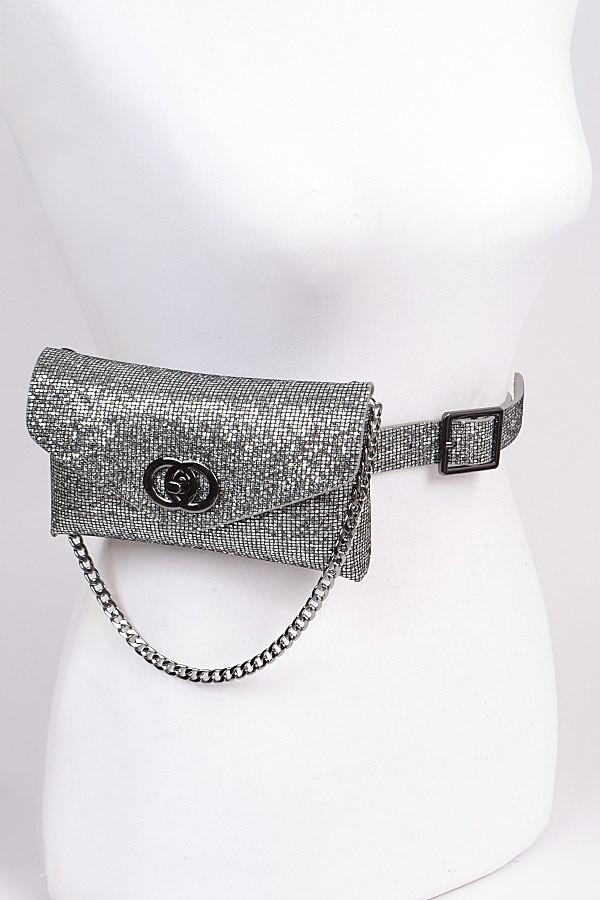 Sequin Chain Embellished Fanny Pack (Silver), ootd,fashion blog,fashion trends,Streetwear ,Stand Out ,Sexy Trend, Online Shopping , prom accesories, party bag,casual bag, elegant fanny pack