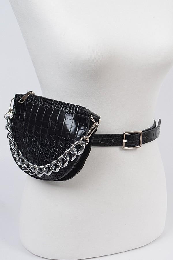 Halfmoon Shape Fanny pack with Oversized Chain (Black), ootd,fashion blog,fashion trends,Streetwear ,Stand Out ,Sexy Trend, Online Shopping , prom accesories, party bag,casual bag, elegant fanny pack