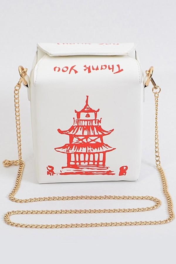 Chinese To Go Box Crossbody Clutch (White), ootd,fashion blog,fashion trends,Streetwear ,Stand Out ,Sexy Trend, Online Shopping , prom accesories, party bag,casual bag, elagnt to go box, fashion bag