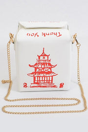 Chinese To Go Box Crossbody Clutch (White) - Posh By K