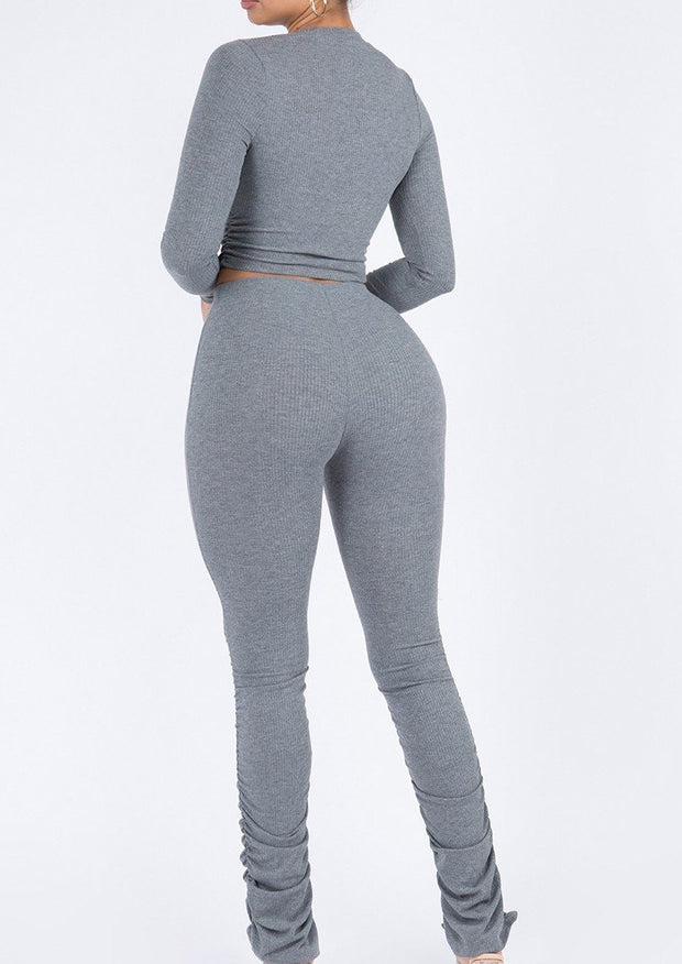 Gabbatha Long Sleeve Set Matching Ruching Bottom Pants Set . ootd,fashion Clothing,womens clothes,fashion blog,fashion trends,Streetwear ,Stand Out ,Sexy Trend, Online Shopping . sexy set, fashion set, casual set