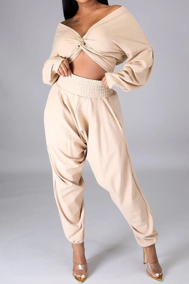 Davian Cross Over Drop Shoulder Crop Top And Ribbed Waist Pants Set (Khaki),ootd,fashion Clothing,womens clothes,fashion blog,fashion trends,Streetwear ,Stand Out ,Sexy Trend, Online Shopping ,casual fashion, sexy set