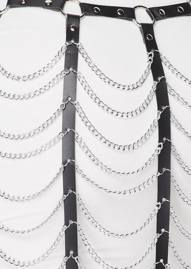 Hooked On You Chain Link Skirt Belt (Black/White) - Posh By K
