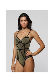 Women's Bodysuit | Sheila Bonded Lurex Bodysuit (Gold) By: Posh By K
