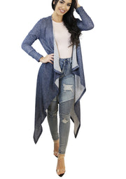 Skyla Two Toned French Terry Long Cardigan (Navy) - Posh By K