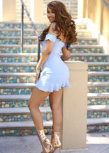 Lucy Blue Blush Off Shoulder Mini Dress
