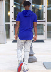 Slim Fit Hoodie Hooded Short Sleeve Tee (Royal Blue) - Posh By K