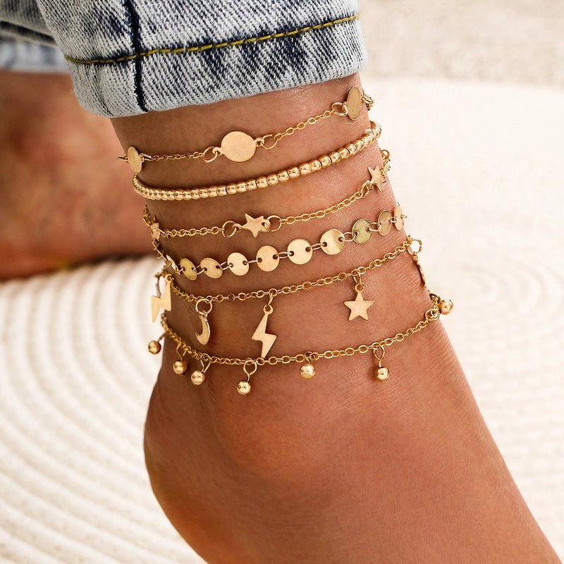Gold Plated Star Moon Charms Multilayer Bohemian Ankle Bracelet, fashion anklet, multi layer, sexy anklet, ootd, trendy anklet, fashion jewelry, moon and star themed anklet, womens fashion