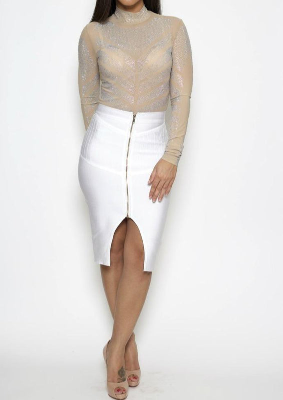 Kera Front Zipper Skirt (White) - Posh By K