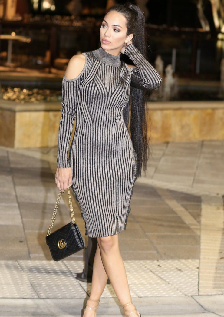 Sianna Black Almond Stripes Ribbed Long Sleeve Midi Dress - Posh By K