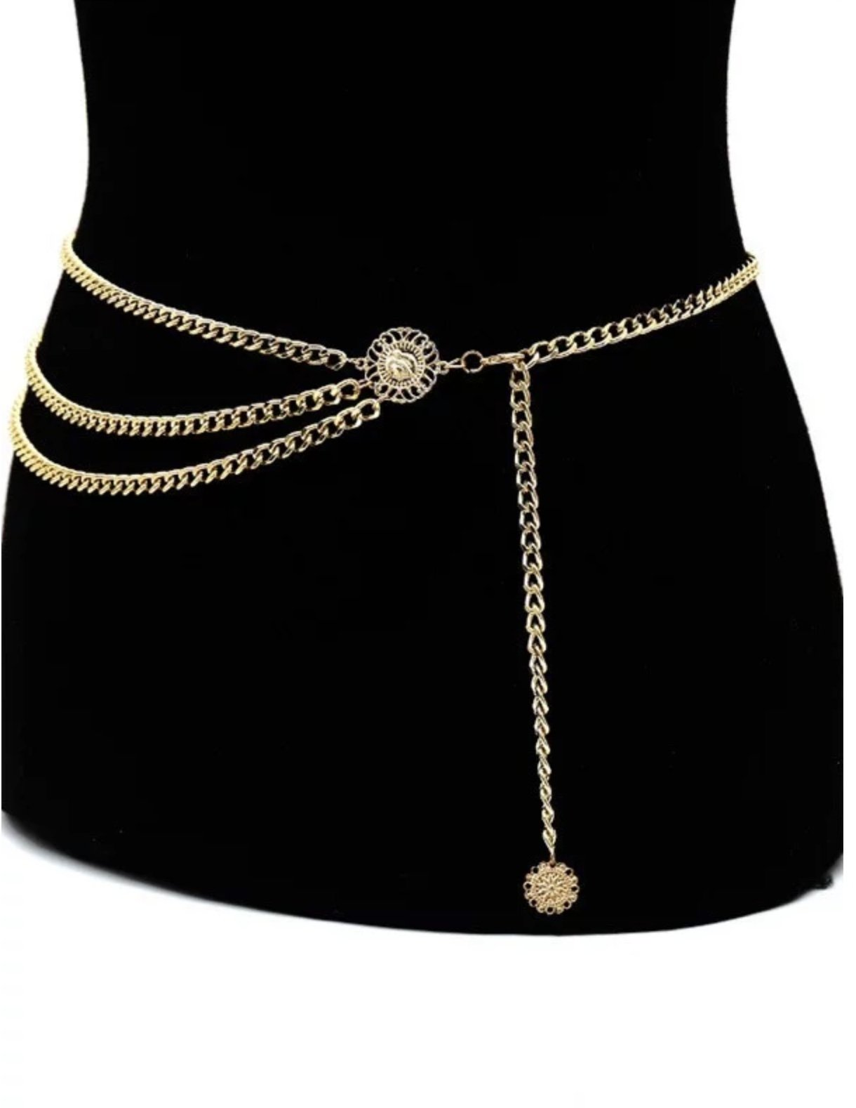 Kira Gold Triple Layer Chain Belt