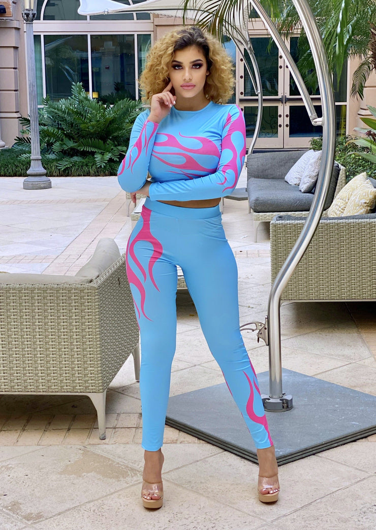 Valene Flame Printed Long Sleeve Crop Top And Pants Set (Blue),ootd,fashion Clothing,womens clothes,fashion blog,fashion trends,Streetwear ,Stand Out ,Sexy Trend, Online Shopping , gym wear, fashion wear, casual wear