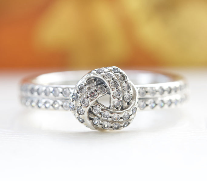 Pandora Sparkling Love Knot Ring 190997CZ - Posh By K