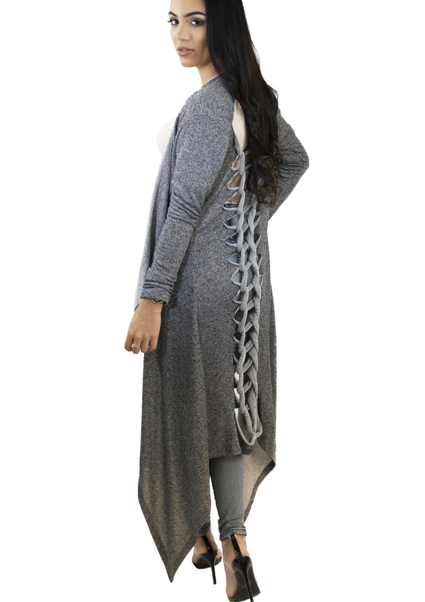 Skyla Two Toned French Terry Long Cardigan (Grey) - Posh By K