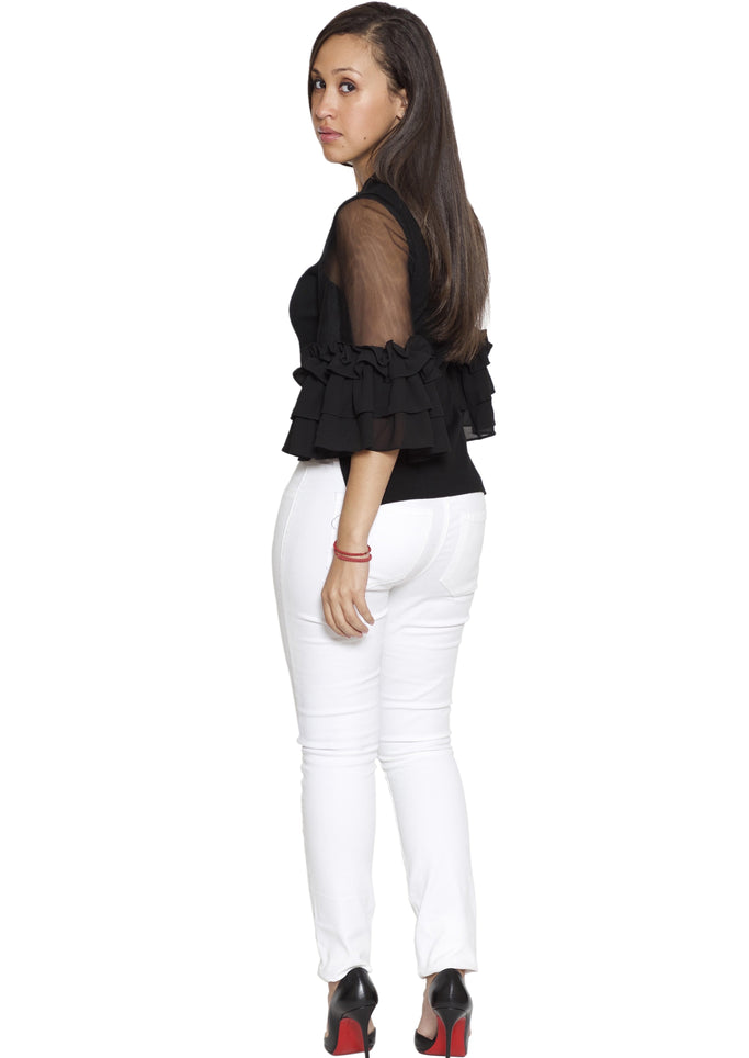 Reema Turtle Neck Three Quarter Bell Sleeves with Ruffles Top (Black) - Posh By K