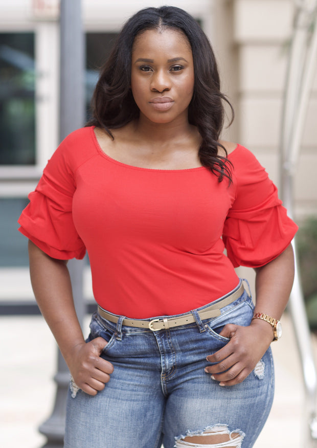 Women's Plus Size Tops | Model: Badie Quarter Sleeve Shirt (Red) By: Posh By K