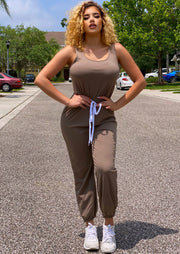 Mandel Sleeveless Classic Jumpsuit.