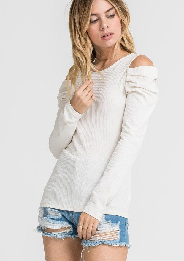 Jade Cold Shoulder Sweater (White) - Posh By K
