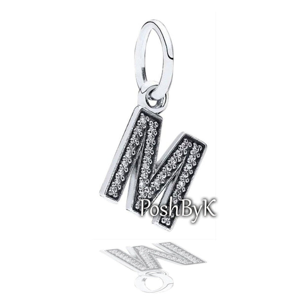 Hanging Letter M Charm 791325CZ