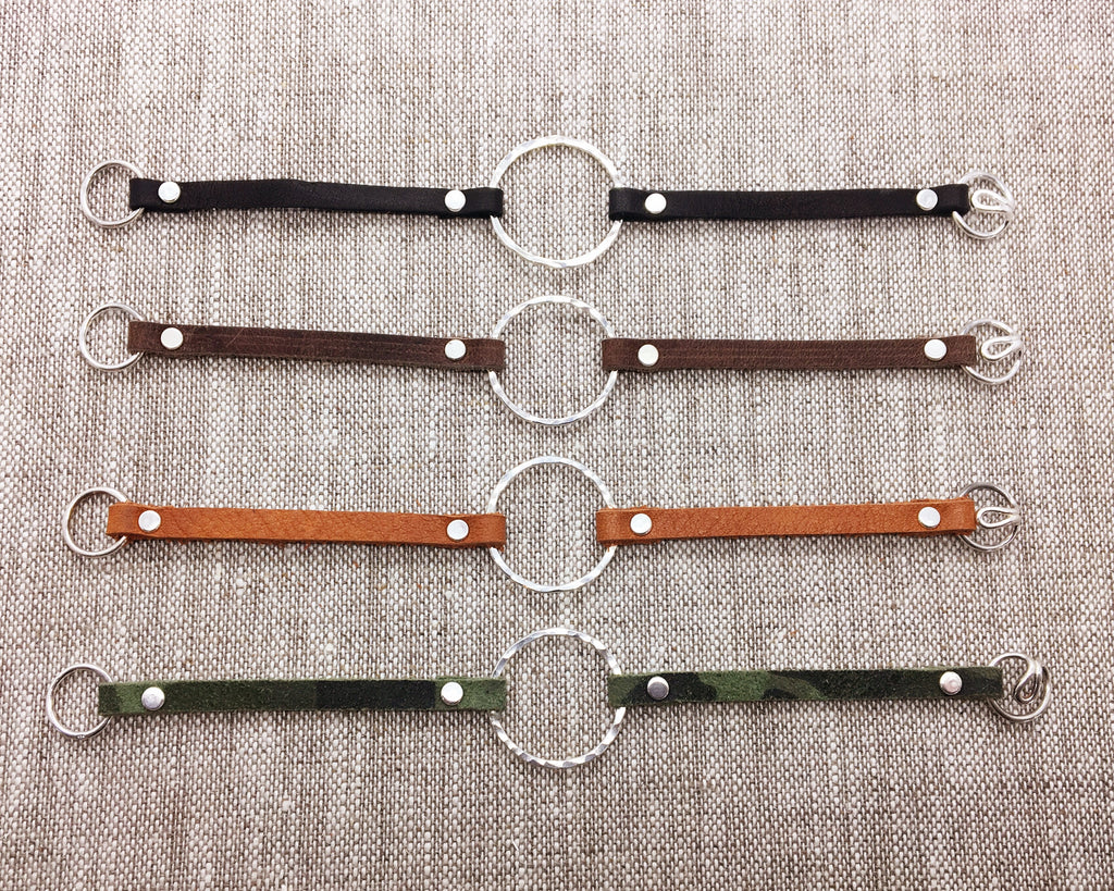 Single Sterling Circle & Neutral Leather