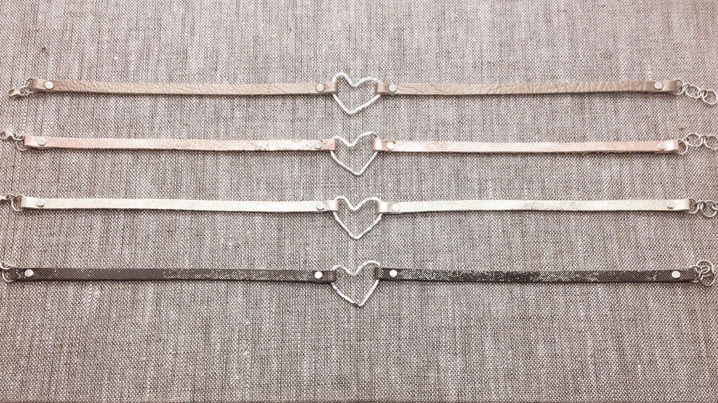 Sterling Heart & Metallic Leather