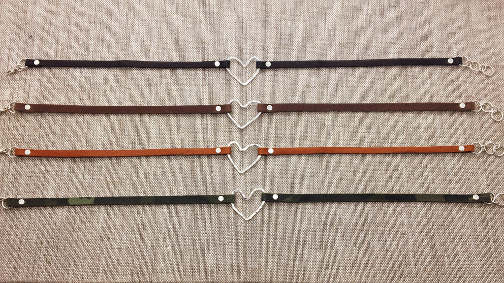 Sterling Heart & Neutral Leather