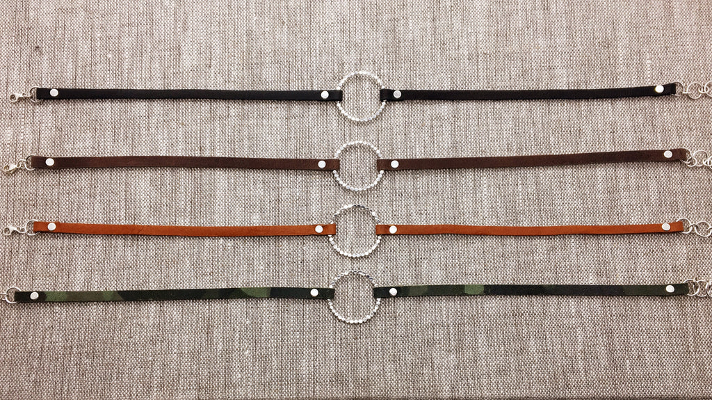 Single Sterling Bubble Circle & Neutral Leather
