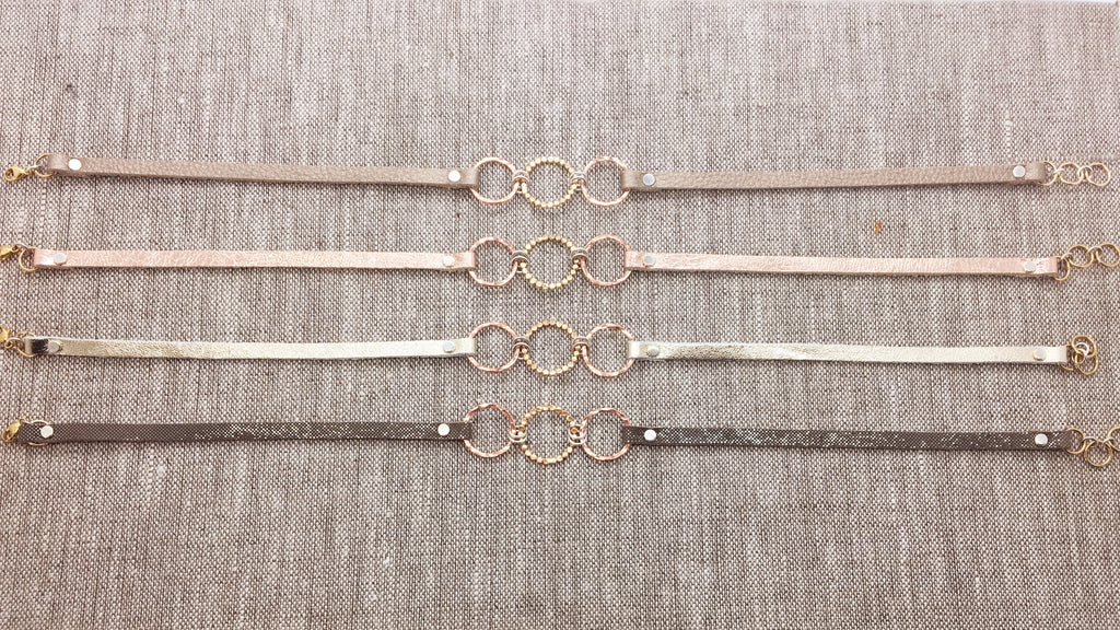 Triple Gold Filled & Rose Gold Filled Bubble Circles & Metallic Leather