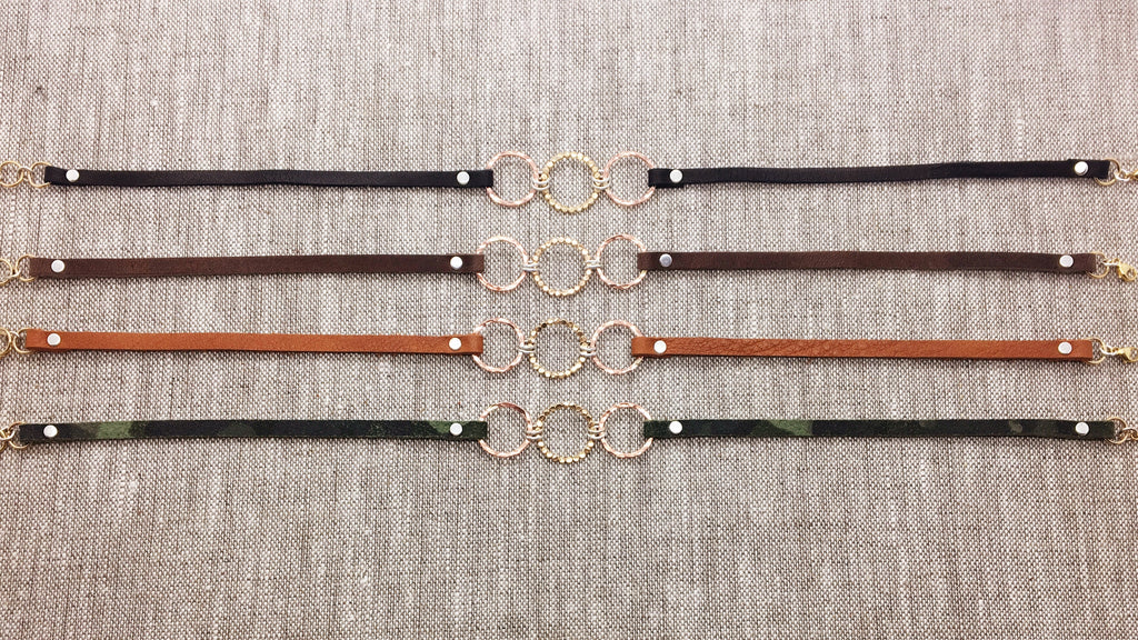 Triple Gold Filled & Rose Gold Filled Bubble Circles & Neutral Leather