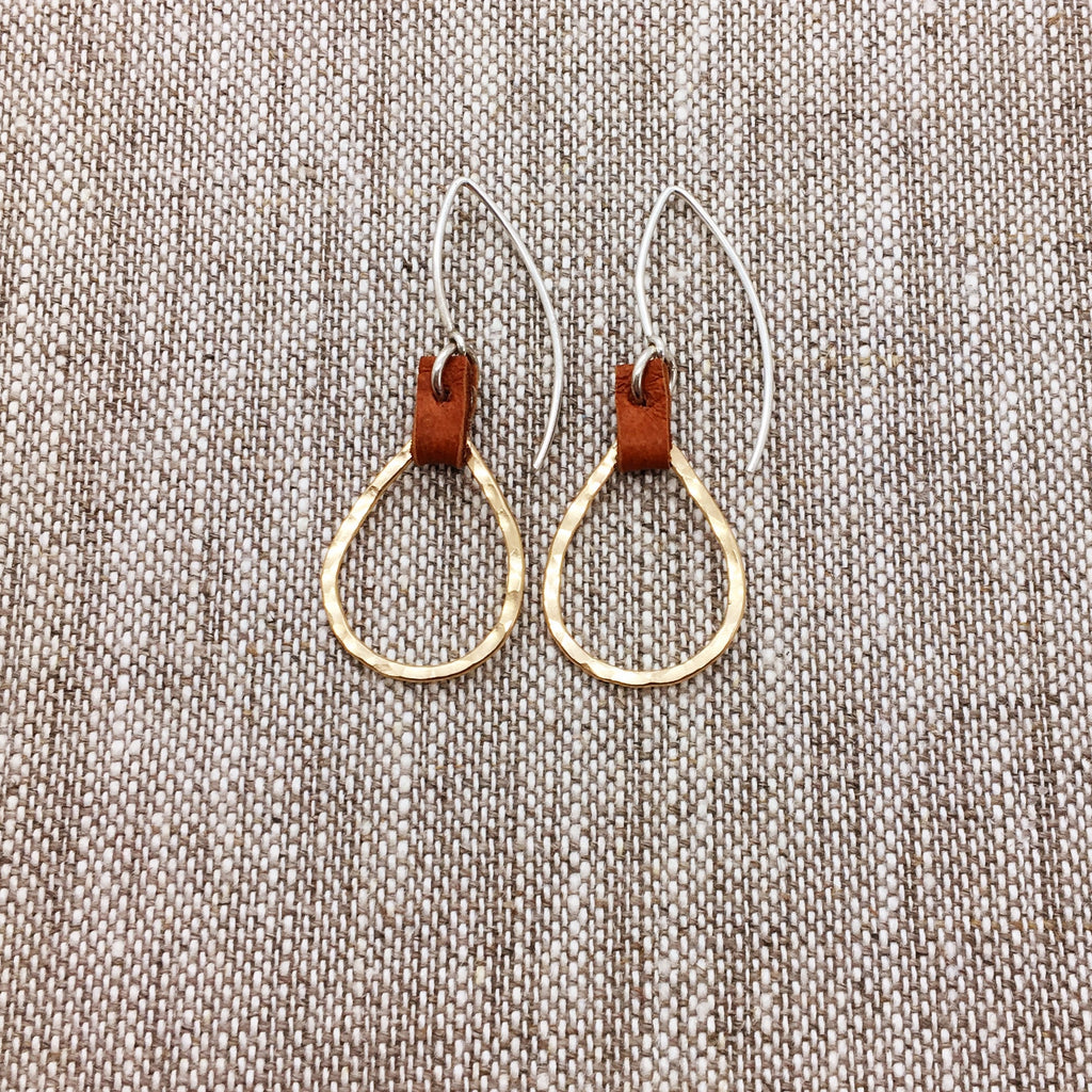 Long Ear Wires with Teardrop & Leather