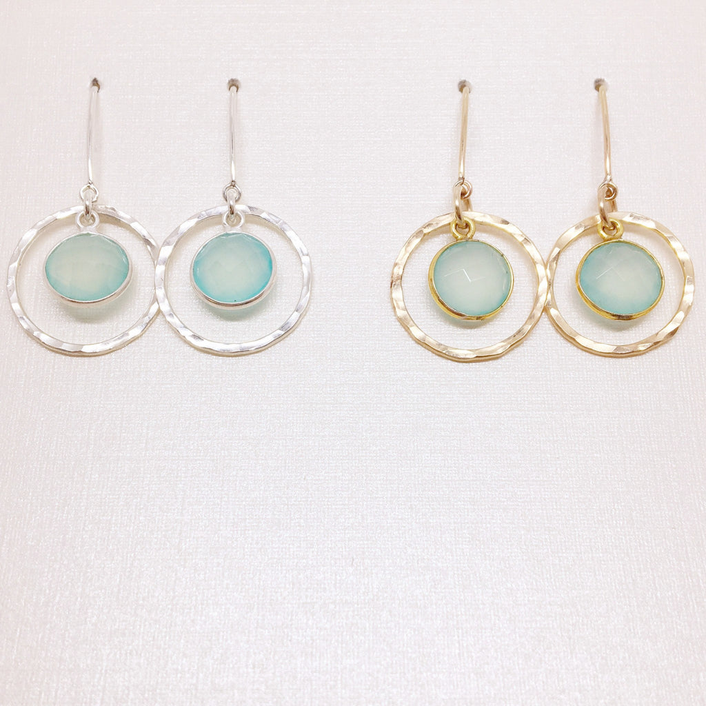 Small Circle & Chalcedony Center & Long Earwires