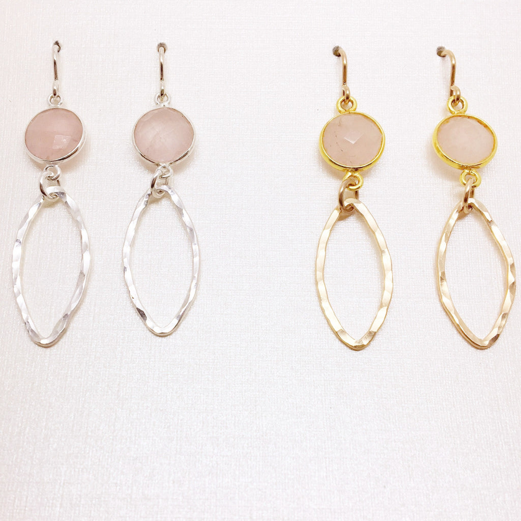 Small Marquise & Rose Quartz Connector