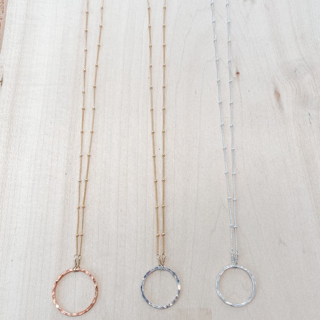 Bead Chain & Hammered Circle