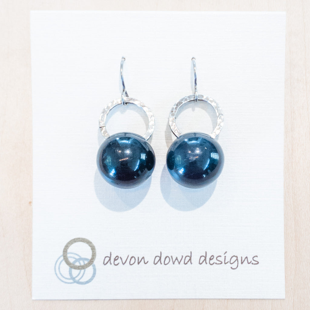Sterling & Navy Blue Lucite