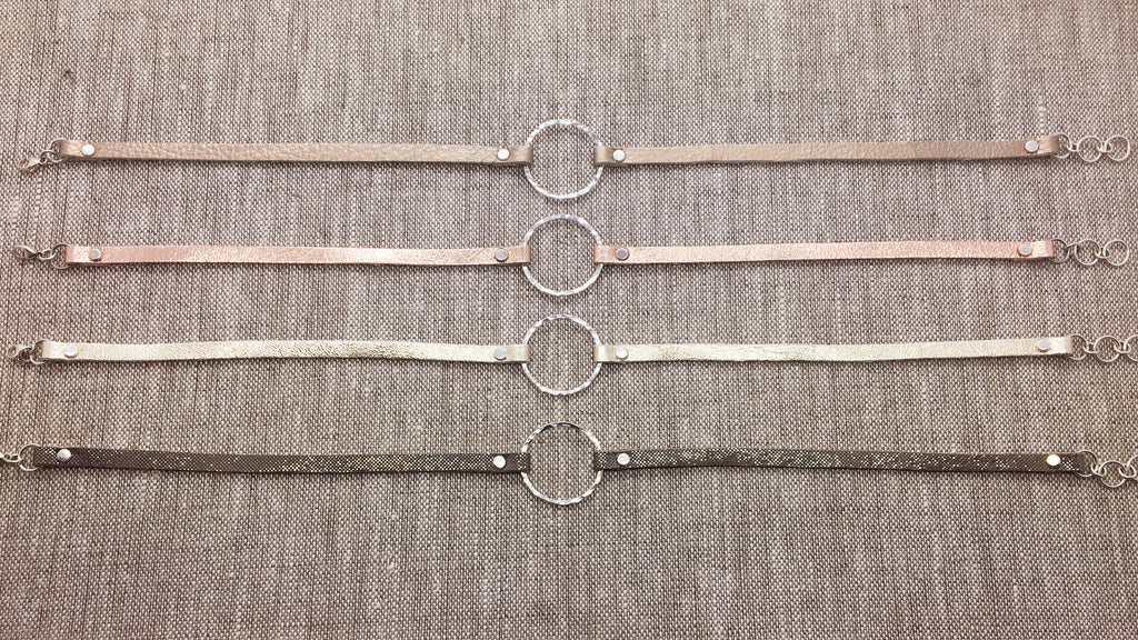 Single Sterling Circle & Metallic Leather