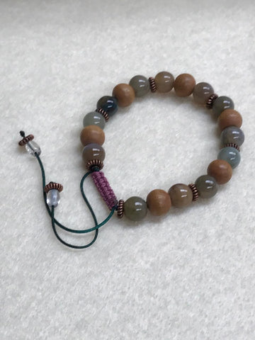 Sandalwood and Jasper Hand-Knotted Bracelet