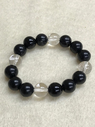 Onyx and Clear Quartz Bracelet