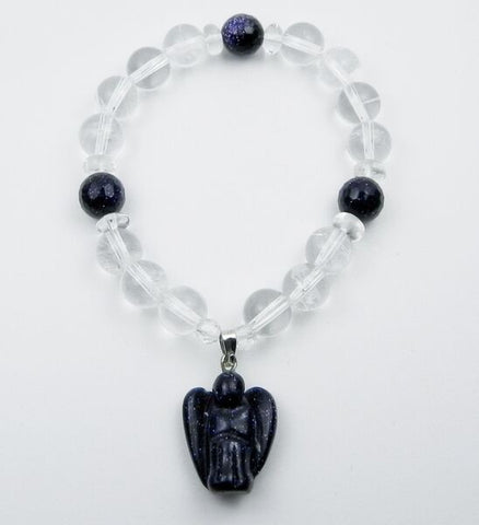 Blue Goldstone and Clear Quartz Guardian Angel Bracelet