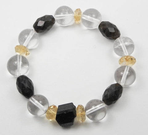 Clear Quartz, Citrine, Labradorite and Tourmaline Bracelet
