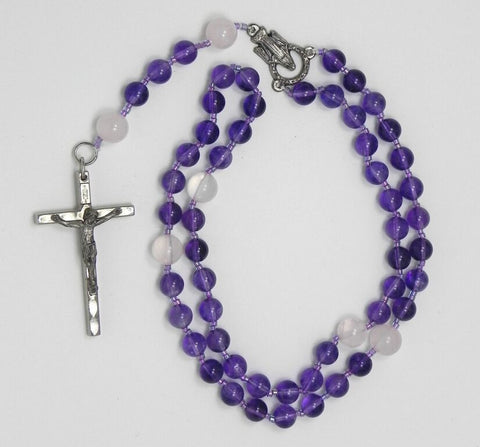 Amethyst and Rose Quartz Rosary