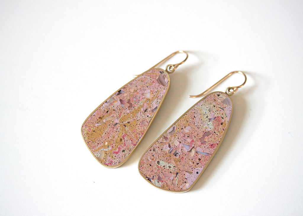 BLOB EARRINGS -  Pastel Glass + Desert Coloured Concrete