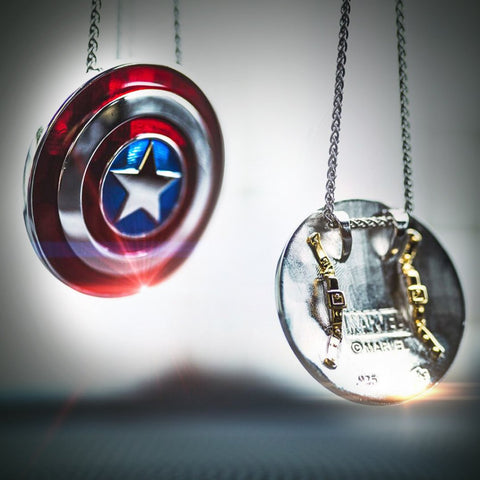 Captain America *Small* Shield Pendant in Sterling Silver or 14K Gold, Official Marvel Collectible