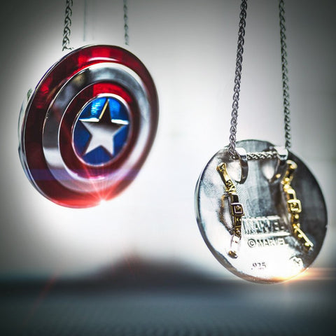 Captain America *Large* Shield Pendant in Sterling Silver or 14K Gold, Official Marvel Collectible