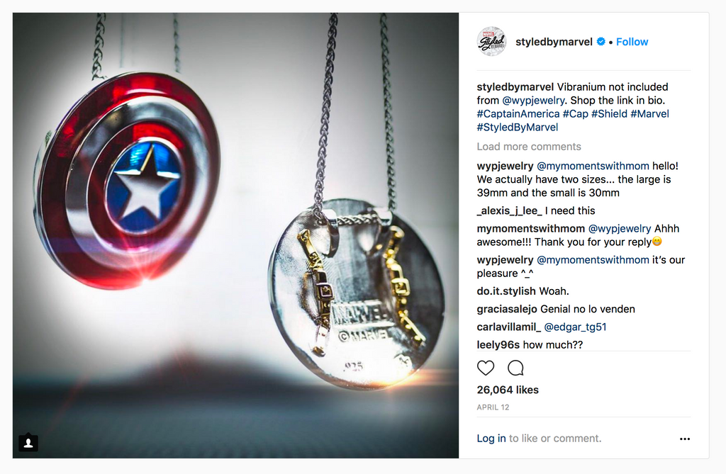 marvel jewelry