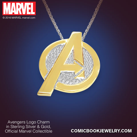 Avengers Logo Charm In Sterling Silver or 14K Gold, Official Marvel Collectible
