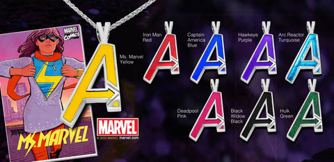 Ms. Marvel's Avengers Pendant in Sterling Silver or 14K Gold, Official Marvel Collectible