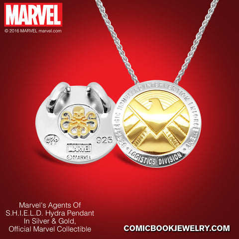 Agents of S.H.I.E.L.D. HYDRA Pendant in Sterling Silver or 14K Gold, Official Marvel Collectible