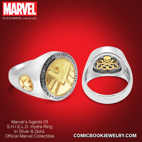 Agents of S.H.I.E.L.D. HYDRA *Women's* Ring in Sterling Silver or 14K Gold, Official Marvel Collectible