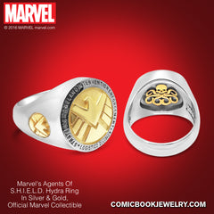 Agents of S.H.I.E.L.D. HYDRA *Men's* Ring in Sterling Silver or 14K Gold, Official Marvel Collectible