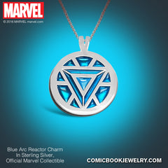 Arc Reactor Necklace in Sterling Silver or 14K Gold, Official Marvel Collectible